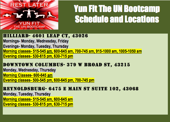 schedule for bootcamp in hilliard, reynoldsburg and columbus
